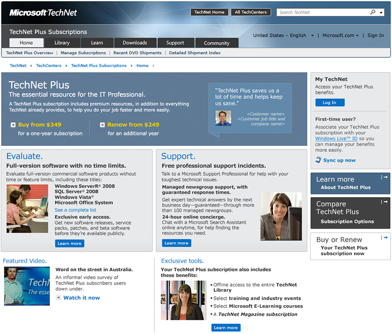 TechNet Plus homepage comp