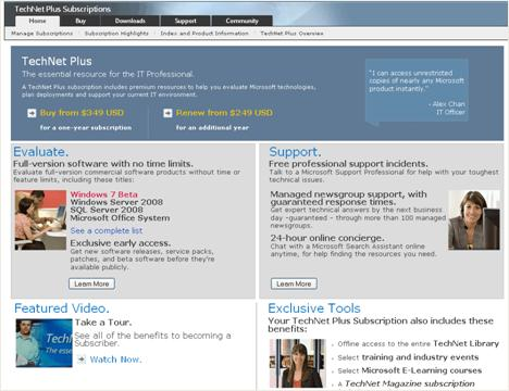 TechNet Plus homepage launch screenshot