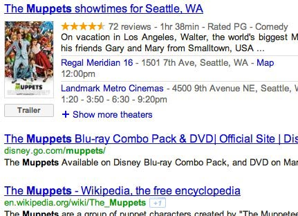 Google movie results