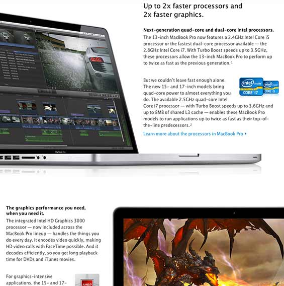 Apple product page with varying image placement