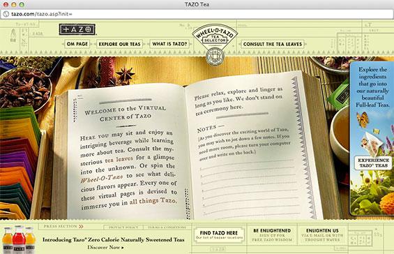 Tazo main page
