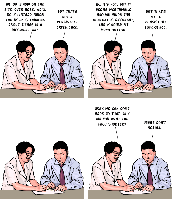 UX consistency cartoon