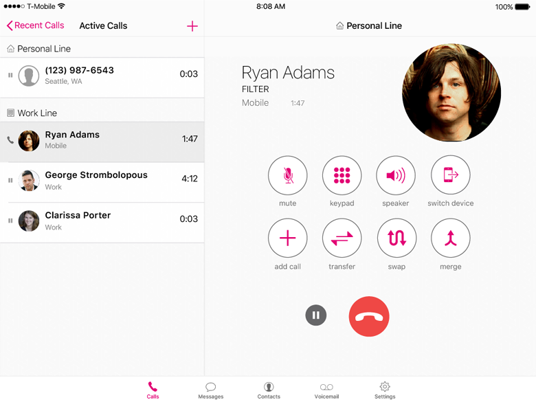 Merging calls on the iPad