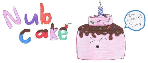 Drawing of Nubcake, who is excited to be a nub